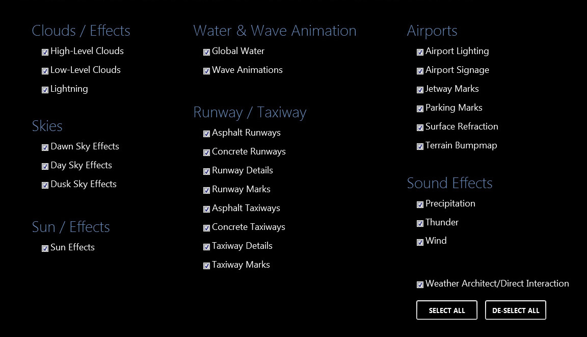 Texture Direct options control for flight simulator textures