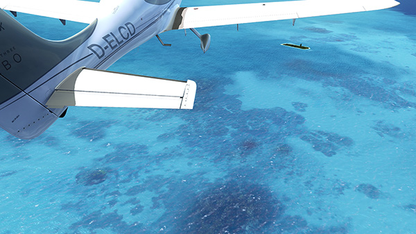 Coral water textures from REX inside flight simulator